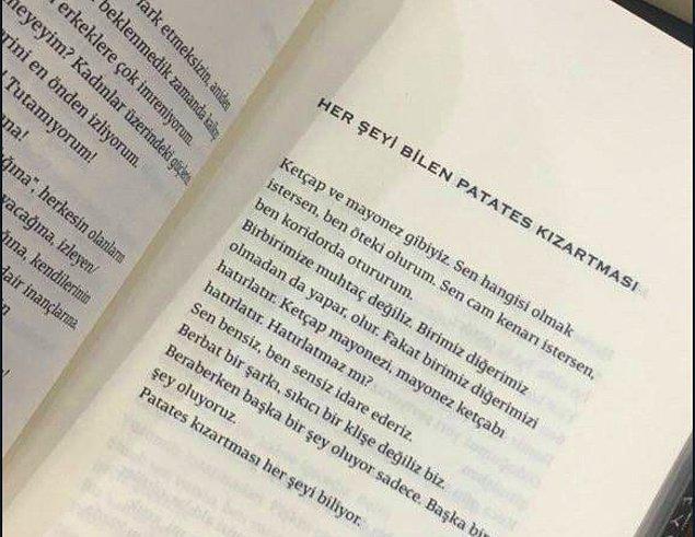 """Kitaptaki """"Her şeyi bilen patates kızartması"""" yazısı sosyal medyada en çok konuşulan bölümlerden biri."""
