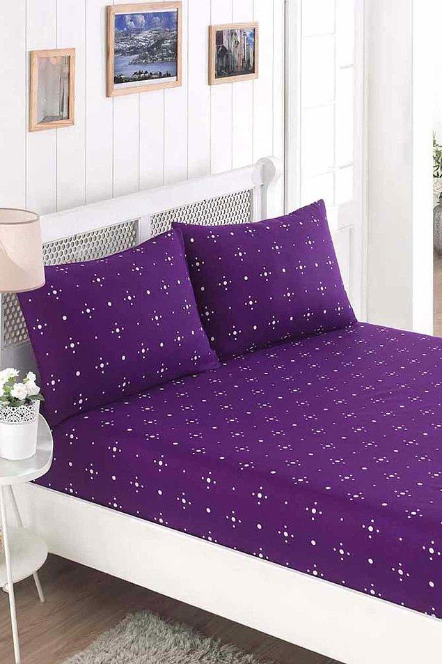 4. Mor rengin verdiği huzurla deliksiz uykular, son moda rüyalar için bu çift kişilik çarşaf takımı tam da aradığınız şey!