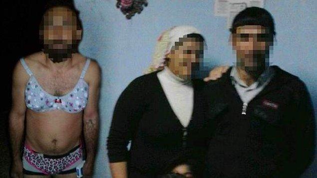 İki arkadaşının yardımıyla tecavüz ettiği F. A.'ya eşinin iç çamaşırlarını giydirdi ve fotoğraflarını çekti.