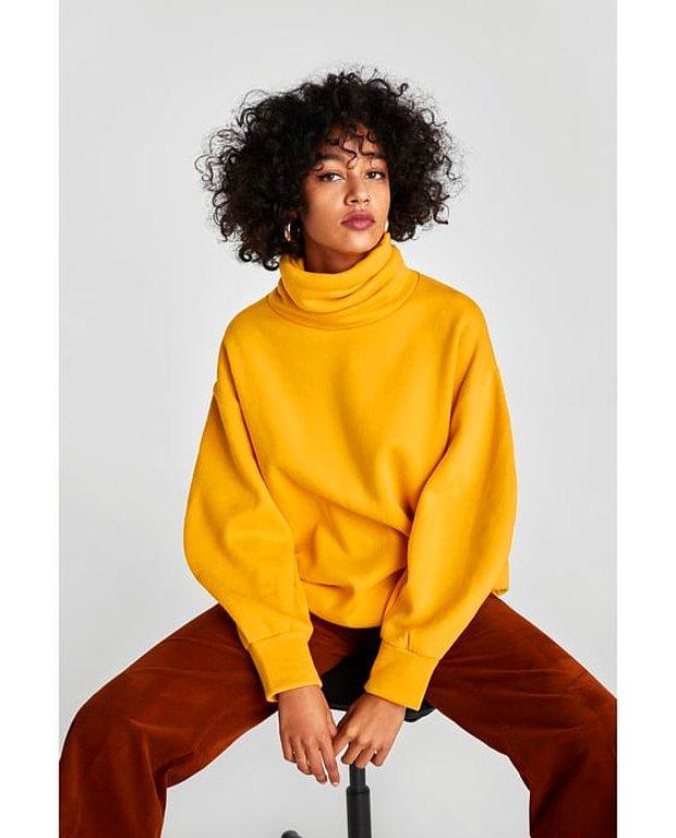 Çift yaka detaylı oversize sweatshirt