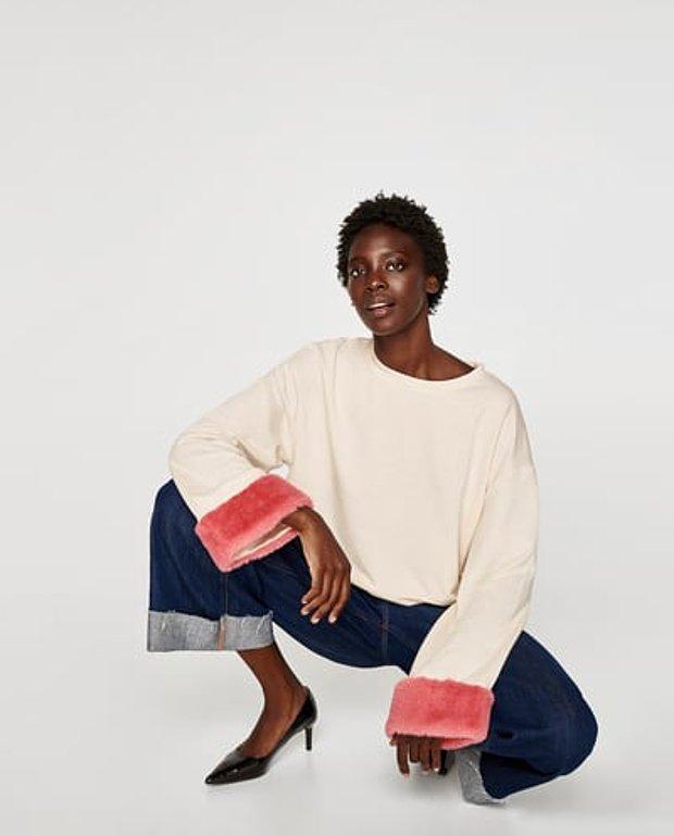 Kolları aplikeli sweatshirt