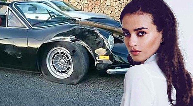 """16. İbiza'da Ferrari ile kaza yaptıktan sonra özel jet ile """"kaçmak zorunda kalan"""" manken Elif Aksu"""