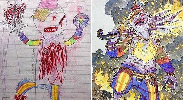 16. Çocuğunun çizimini gerçek bir karakteri dönüştüren babanın işi.
