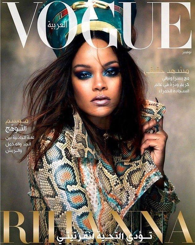 """9. Vogue Arabistan için verdiği pozları gördüğümüzde! Tabii Rihanna yine durmadı 4 farklı """"DAZED"""" kapağında, 3 farklı """"Vogue"""" ve 3 farklı """"ELLE"""" kapağında yer aldı..."""