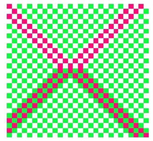 4. Şekildeki X harfinin hangi kısmında koyu kırmızı kareler var?