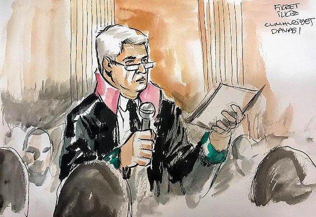 Yıldıray Çınar çizgileriyle Avukat Fikret İlkiz Cumhuriyet Davası'nda savunma yaparken...