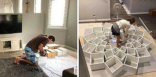 İnternette Gördükleri Kitaplık Tasarımını Üşenmeyip Evde Kendileri Yapan Çiftten Harika Çalışma