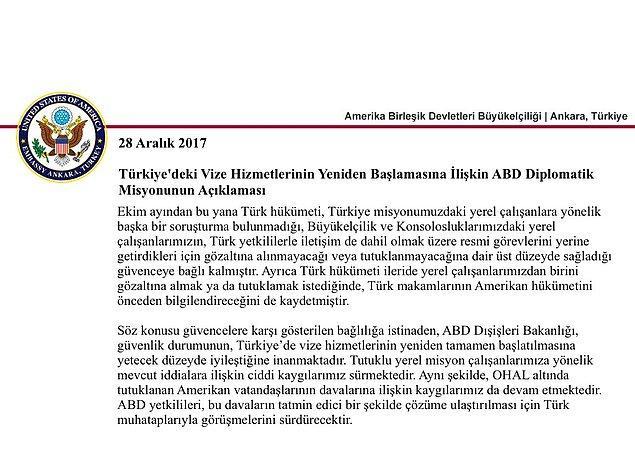 ABD'nin Ankara Büyükelçiliği tarafından yapılan açıklamada şöyle denildi 📌