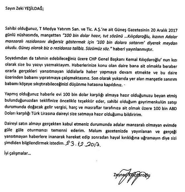 İşte o mektup 👇