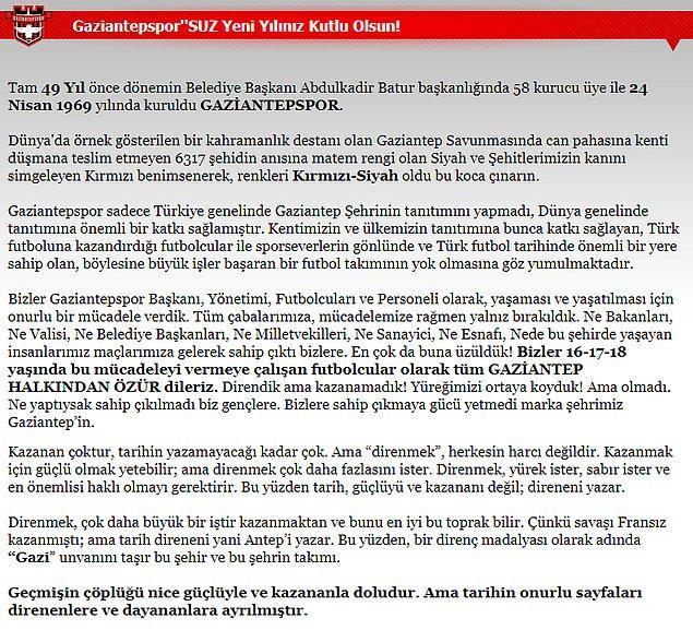Gaziantepspor Kulübü'nün kapandığını açıklayan mesajda şu ifadelere yer verildi: ''Gaziantep halkından özür dileriz.'' 👇