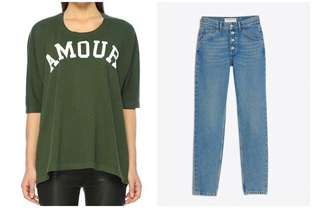 Şeyma'nın ceketi, Tweed Moto Jacket, yeşil sweatshirtü Zadig&Voltarie, pantolonu ise Balenciaga marka.