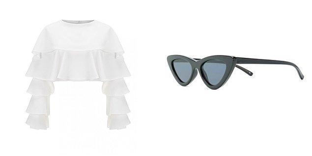 Selma'nın katlı büstiyeri Selma Çilek marka. Güneş gözlüğü ise Le Specs.