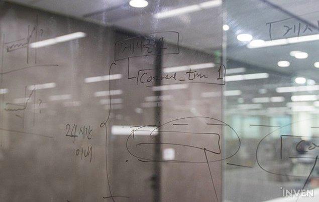 14. Oyunla ilgili fikirler ve yapılacaklar camlara yazılmış durumda.