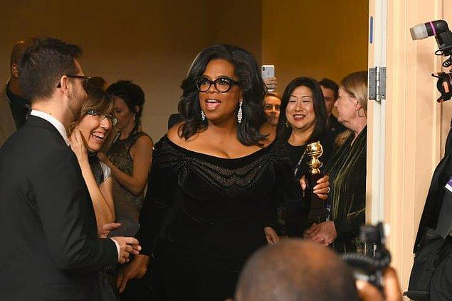 Winfrey daha sonra organizasyona, Hollywood Yabancı Basın'a teşekkür etti ve özgür basının önemini vurguladı.