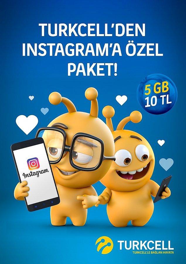 Her şeyi paylaşmak istiyoruz, her ana şahit olmak istiyoruz ama buna GB mı dayanır diyenlere Turkcell'den Özel Instagram Paketi!