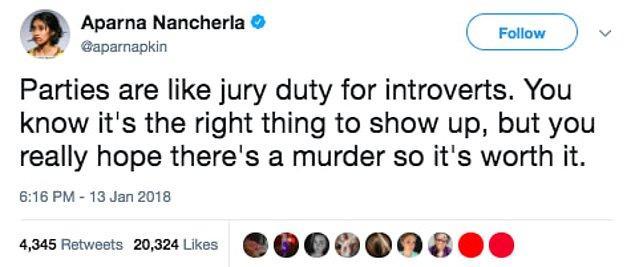 """7. """"Partiler içe dönük insanlar için tam bir jüri görevi gibi. Gitmenin doğru olduğunu biliyorsun ama bir cinayet olmasını umuyorsun ki; gittiğine değsin."""""""