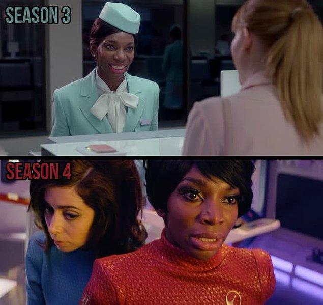 """4. Ve bu bölümde Shania olarak gördüğümüz oyuncu, 3. sezon """"Nosedive"""" bölümünde havalimanı çalışanı olarak karşımıza çıkmıştı."""