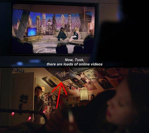 """10. Yine """"Arkangel"""" bölümünde Sara'nın duvarındaki, daha önce 3. sezon """"Hated in the Nation"""" bölümünde görüdüğümüz rapçi Tusk'ın posteri de dikkatlerden kaçmıyor."""