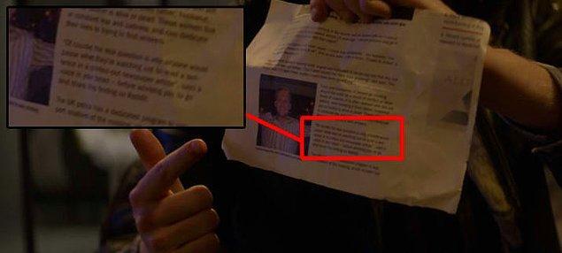 12. Yine bu bölümde Rob'un Mia'ya gösterdiği gazete sayfasını okumak için diziyi donduran izleyicileri bir sürpriz bekliyordu.