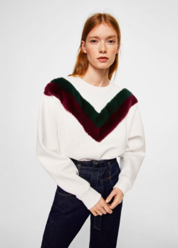 Kadife parçalı sweatshirt