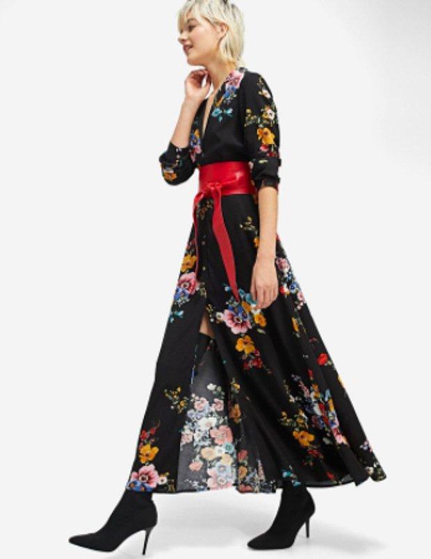 Uzun çiçekli gömlek elbise