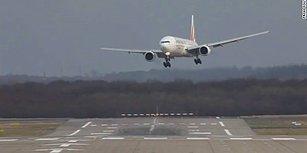 Şiddetli Rüzgar Nedeniyle Düsseldorf Havalimanı'na İniş Yapmakta Zorlanan Uçakların Korkutan Görüntüleri