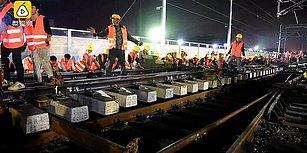 Çin'den Yeni Rekor: 1500 İşçiyle 9 Saatte Demir Yolu İnşa Ettiler