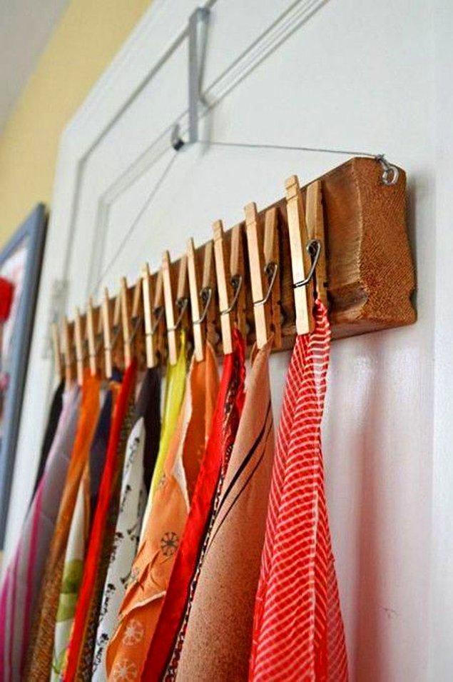 15. Eşarplarınız için mandal kullanabilirsiniz.