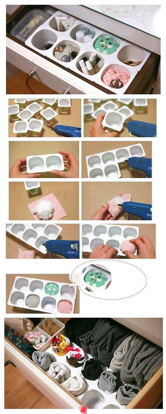 17. Yoğurt kartonlarından da harika çekmece içi düzenleyici olur.