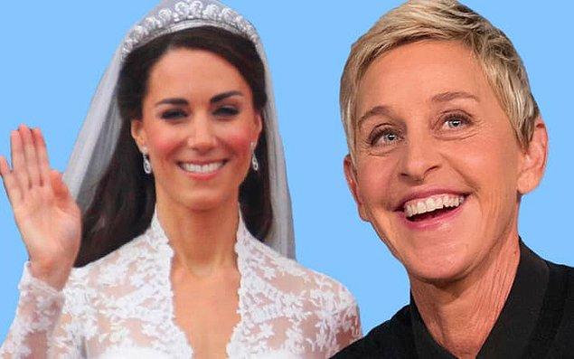 5. Ellen DeGeneres, Kate Middleton'ın 15. kuşaktan kuzeni. 🤔