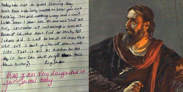 King Johnson adındaki akıllı ufaklık, okulda 'Amerika'yı keşfeden adam' (Avrupa odaklı düşünüldüğünde) hakkında öğrendiği bilgilerden sonra girdiği ders üzerine bir eleştiri yazmaya karar verdi.