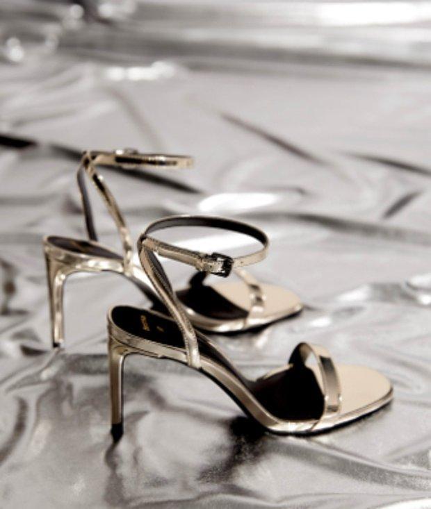 Metalik ipli ince topuklu sandalet