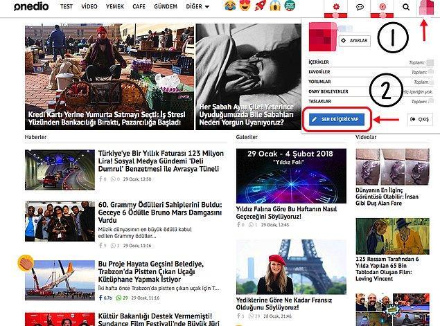 1. Adım adım başlayalım, Onedio ana sayfamızın sağ üstünde profil fotoğrafına tıkladıktan sonra 'Sen de içerik yap' yazan butona tıklıyoruz.