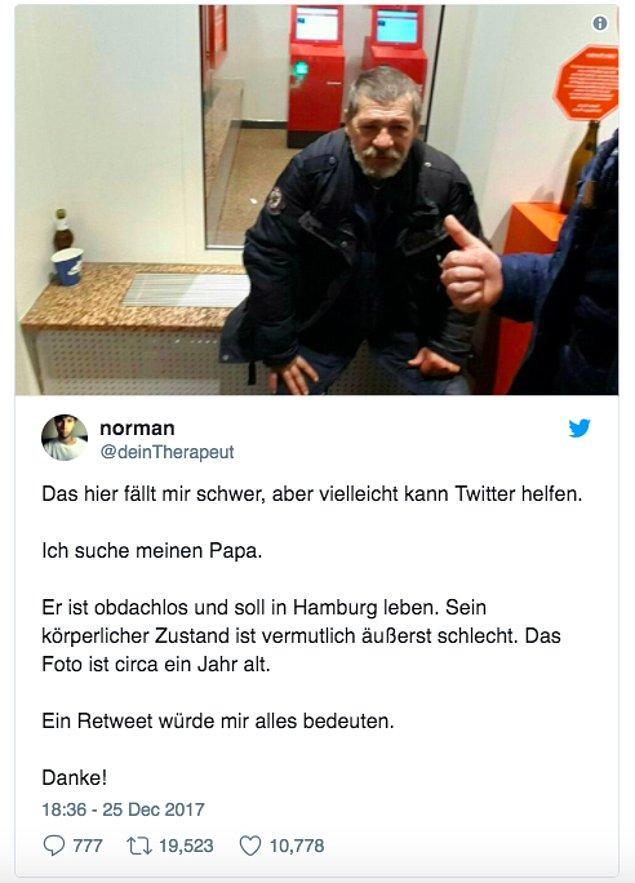 Noel döneminde attığı twitle evsiz babasını aradığını söyleyen ve Twitter'da yardım isteyen Norman, geçtiğimiz günlerde babası Klaus'la telefonda ilk konuşmasını gerçekleştirmeyi başardı. 🎉