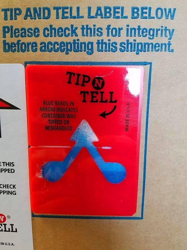 17. Paketiniz düzgün taşınmadıysa veya ters çevrildiyse mavi boncuklar okun içine taşıyor, kapıda kontrol ediyorsunuz.