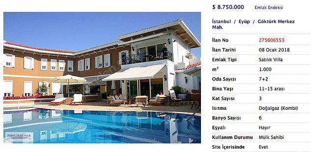 Meşhur bir emlak sitesinde en yüksek fiyatlı villa olarak karşımıza burası çıkıyor. Değeri yaklaşık 33 milyon TL!