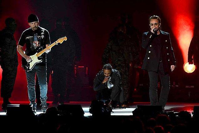 12. Yedi farklı dalda aday gösterilen Kendrick Lamar unutulmaz bir açılış performansına imza attı hem de efsanevi müzisyen Bono'yla birlikte!