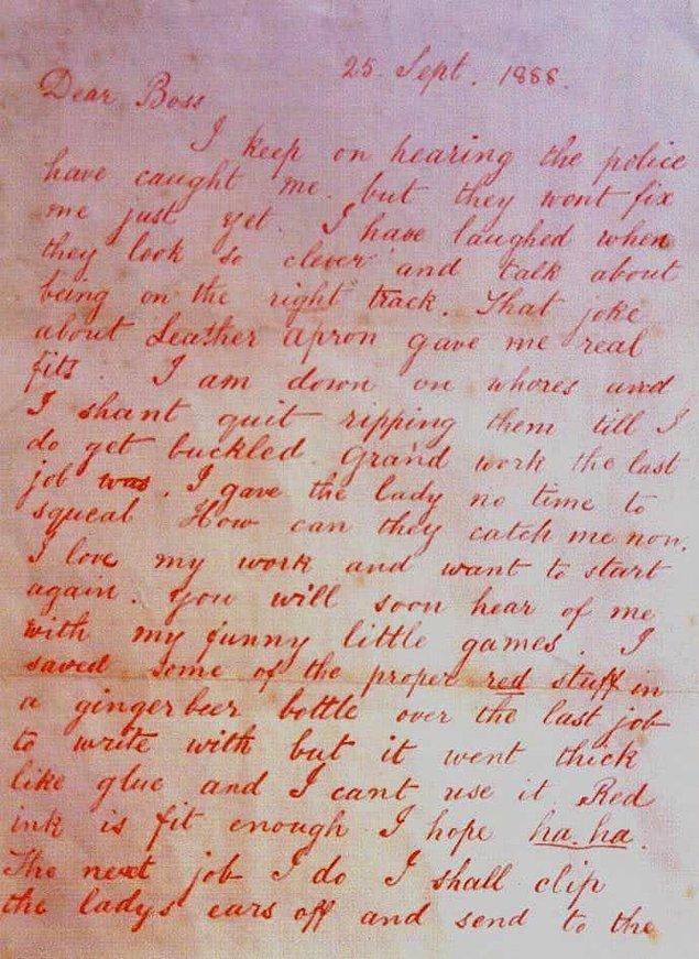 3. 27 Eylül 1888'de katil 'Sevgili Patron' başlığıyla ünlenen o mektubu yolladı;
