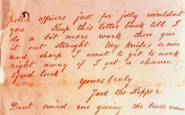 4. Bu mektubu 'Karındeşen Jack' diye imzalayan acımasız katilin o günden sonra ismi böyle kaldı.