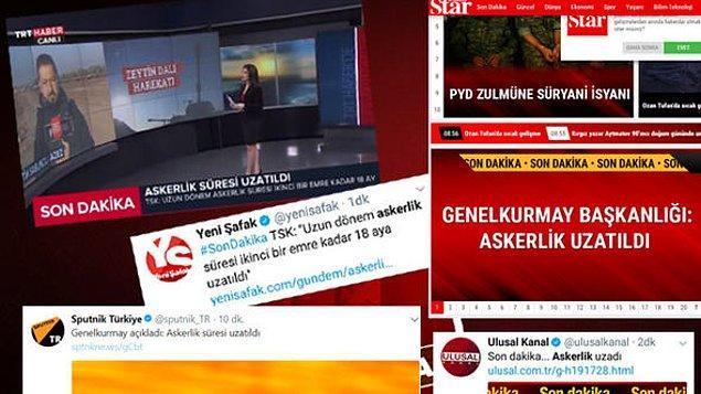 TRT'nin yanı sıra Yeni Şafak, Star, Takvim, Sputnik, Akşam ve Hürriyet'in  son dakika olarak verdiği ve ilerleyen saatlerde 'sahte' olduğu vurgulanan açıklamada şu ifadeler yer almıştı 👇