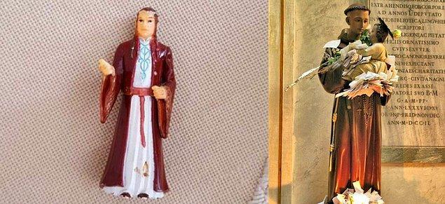 3. Brezilyalı yaşlı bir kadının yıllar boyunca dua ettiği Aziz Antoni biblosunun aslında Yüzüklerin Efendisi'nden Lord Elrond figürü olduğu ortaya çıktı.