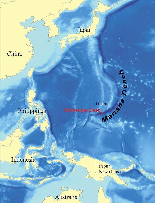 5. Okyanusun en derin noktası Challenger Çukuru, Pasifik Okyanusu'nda Mariana takımadalarının yakınında yer alıyor.