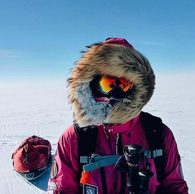 """Genç kayakçı Jade Hameister 1.300 km'lik Kuzey Kutbu, Güney Kutbu ve Grönland """"ice sheet"""" maratonunu tamamlayan en genç isim oldu..."""