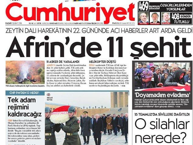 Harekâtın 22. gününde Afrin'den gelen şehit haberleri Cumhuriyet'in manşetindeydi.