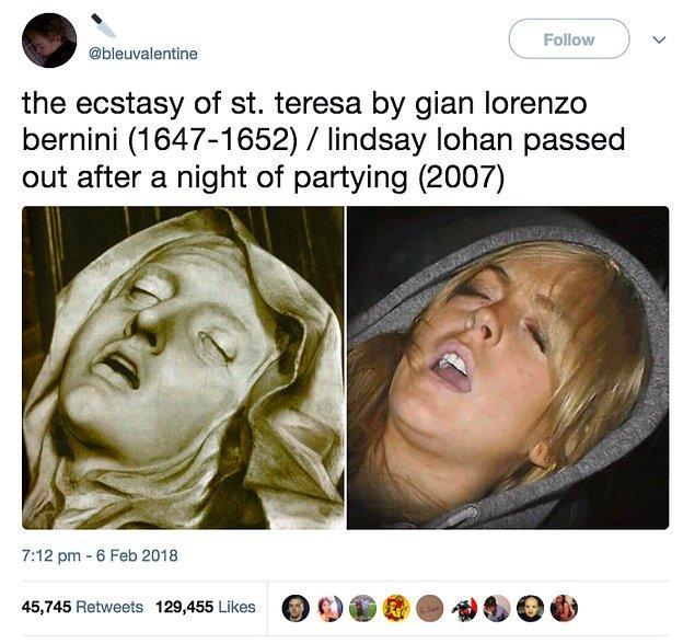 """14. """"Gian Lorenzo Bernini'den 'Azize Teresa'nın Vecdi' (1647-1652) / Lindsay Lohan'ın Partiledikten Sonra Bayılışı (2007)"""""""