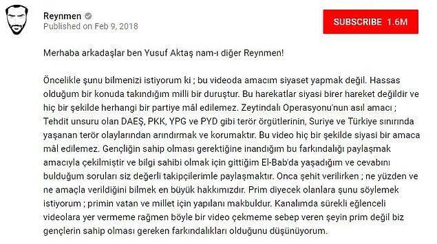 Bu videoyu çekerken hiçbir siyasi amacı olmadığını belirten youtuber'ın videosu 4 günde 1.5 milyondan fazla izlendi.