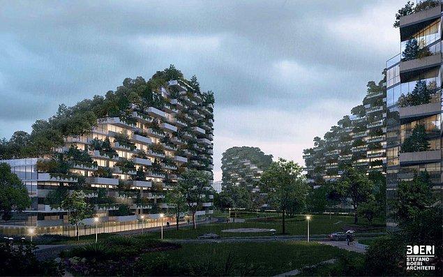 Şehrin bir yılda 10.000 ton karbondioksit ve 57 ton kirletici madde emmesi bekleniyor. Planlamasını ise İtalyan Mimarlık Ofisi Stefano Boeri Architetti yaptı.