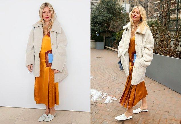 Sienna Miller, sarı slip elbisesi ve bu cıvıl cıvıl kombiniyle her zamanki gibi olağanüstü stilini konuşturuyor.