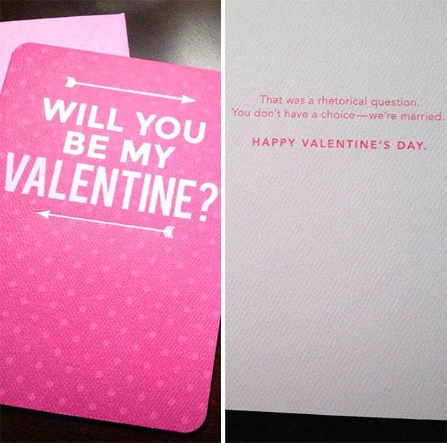 """5. """"Kocam için mükemmel Sevgililer Günü kartını buldum."""""""
