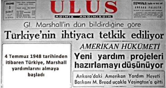İkinci Dünya Savaşı sonrasında, 1948-1951 yılları arasında Marshall planı devreye girdi: Yürürlüğe giren ve Amerika Birleşik Devletleri kaynaklı bir ekonomik yardım paketi olan Marshall Planı Türkiye dahil 16 ülkeyi kapsıyordu.